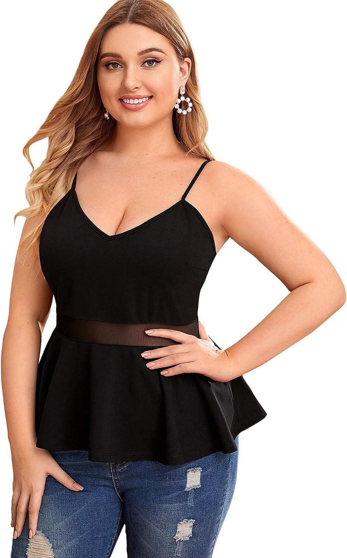 MakeMeChic Women's Plus Size V Neck Ruffle Hem Mesh Sleeveless Peplum Cami Top