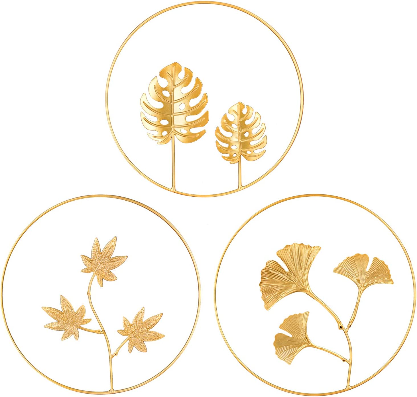 OperSeven 3Pcs Iron Wall Sculptures,Metal Round Room Decor and Home Decor with Hanging Leaf Gingko Ornaments Easy Installation Great for Bedroom Hotel Wall Decoration (3 different leaves)
