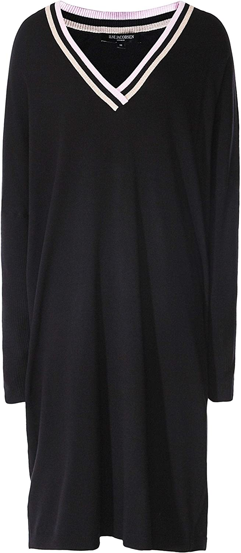 ILSE JACOBSEN Women's VNeck Striped Trim Jumper Dress Black