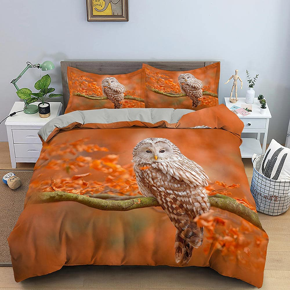 Owl Branches 3D Print Max 54% OFF Duvet Cover Leaves Beddi Set Be super welcome Orange Autumn