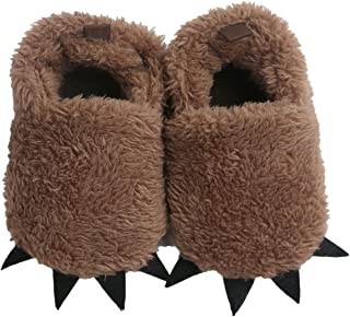 Baby Boys Girls Bear PAW Animal Slipper Boots Toddler Infant Crib Shoes First Walking Prewalker Shoes, Anti-slip Soft Sole Sneaker, Plush Furry House Slippers For 6-12 Months (Brown)