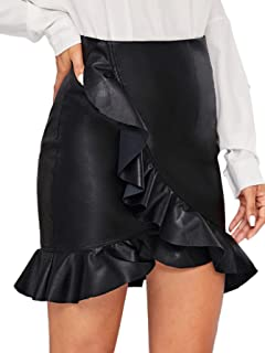 Women's Sexy A-Line Mid Waist Above Knee Faux Leather Bodycon Skirt