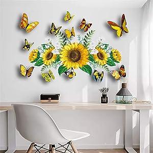 NUATE Sunflower Wall Sticker 3D Color Butterfly Sun Flower Wall Decor for Kids Girls Boys Bedroom Nursery Baby Playroom Living Room