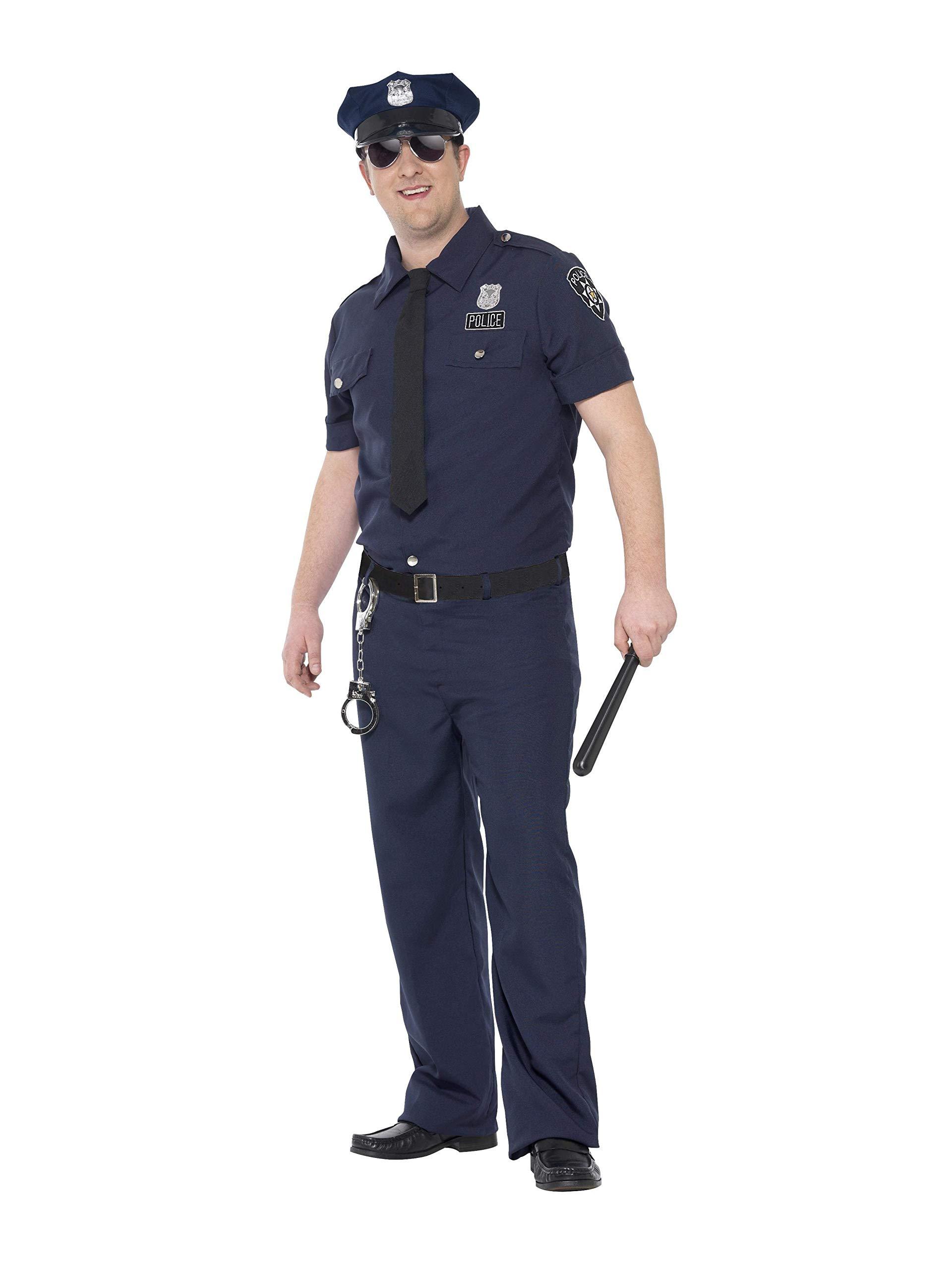 SmiffyS 24341Xl Disfraz De Policía De Nueva York Con Curvas Con Pantalón Camisa, Azul, Xl - Tamaño 46