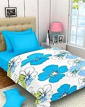 Home Spaces Floral Soft Designer Single Bed Dohar White and Sky Blue