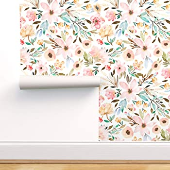 Removable Water-Activated Wallpaper Watercolor Botanical Floral Watercolor