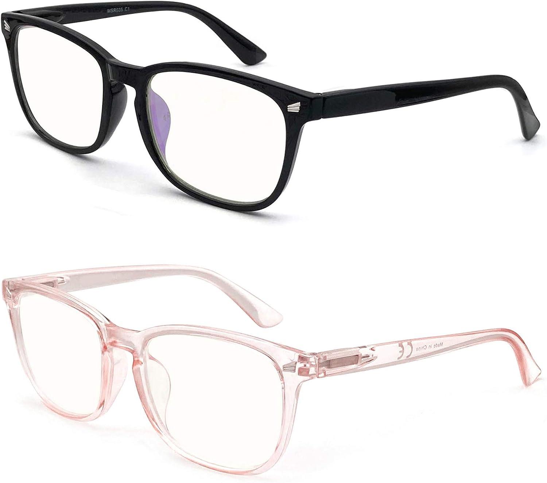 HEEYYOK 2 paquete Gafas con bloqueo de luz azul para mujer mujer,proteccion UV,apto para pantalla de computadora TV tableta telefono,conveniente a la moda