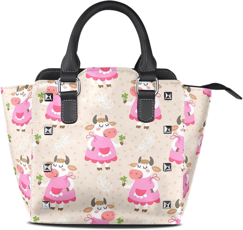 My Little Nest Women's Top Handle Satchel Handbag Cute Cow Ladies PU Leather Shoulder Bag Crossbody Bag