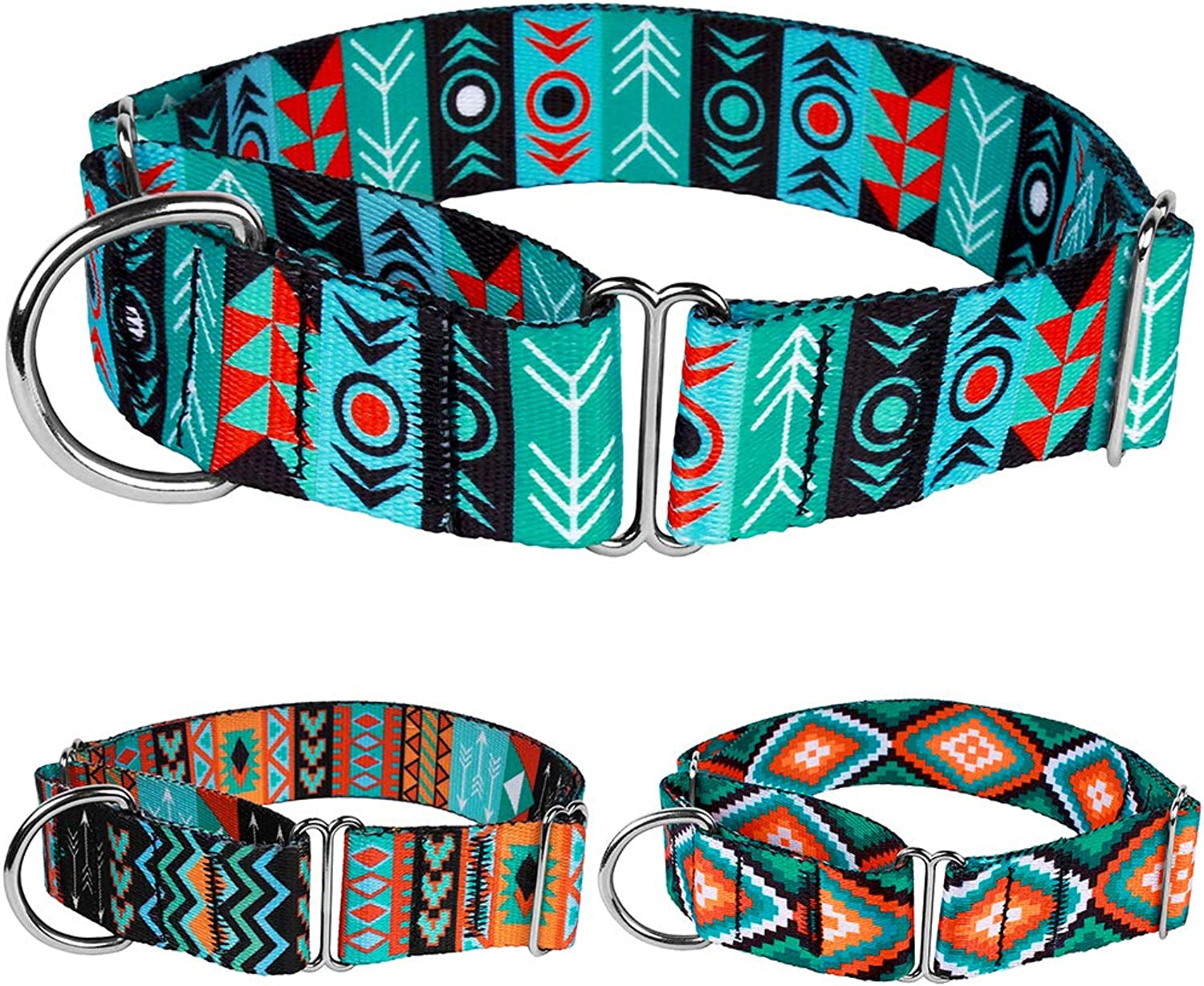 CollarDirect Martingale Dog Collar Nylon Safety Training Tribal Pattern Adjustable Heavy Duty Collars for Dogs Medium Large (Pattern 1, Extra Large, Neck Size 19 24 )
