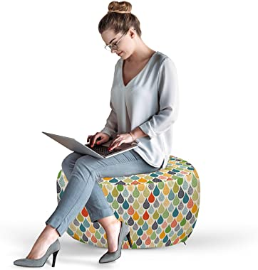 Ambesonne Abstract Pouf Cover with Zipper, Colorful Large Drop Dots Pattern in Various Tones Retro Funky Fashion Graphic, Sof