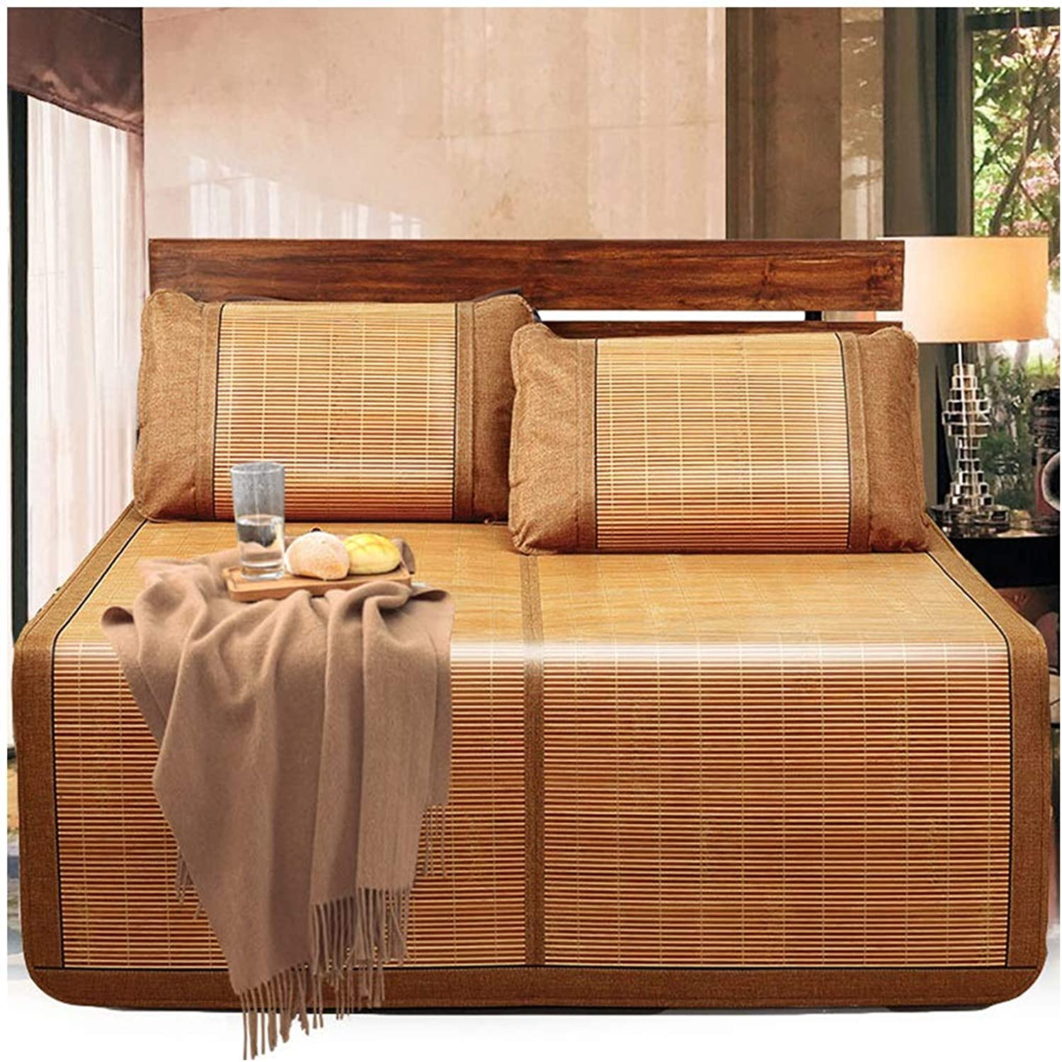 Carbonized Bamboo Summer Sleeping Mat Cooling Mattress Topper Pad, Double-Sided Folding Double Bamboo and Rattan Mat, 150 X 195cm 59  X 76
