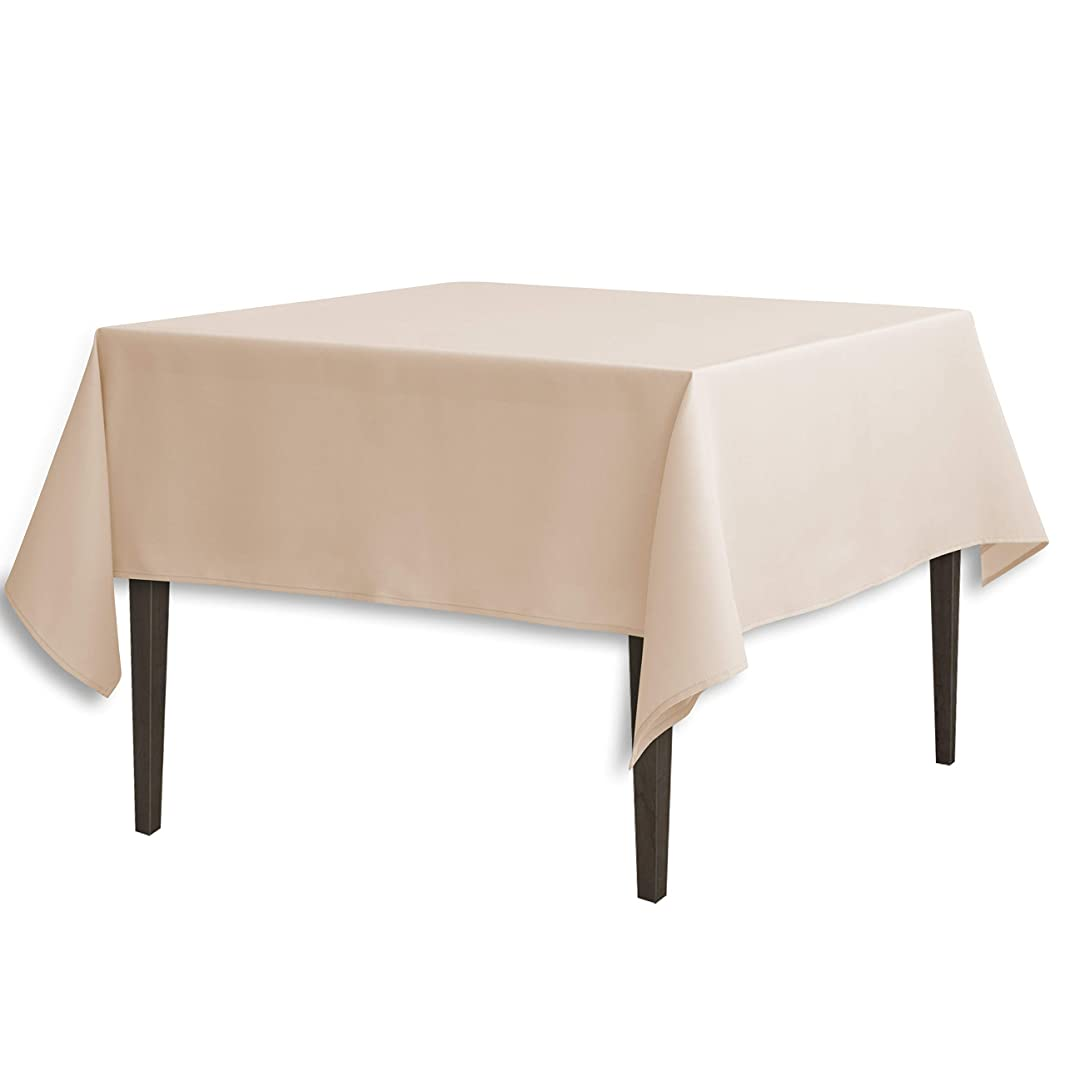 LinenTablecloth 70-Inch Square Polyester Tablecloth Beige
