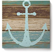 Square Canvas Wall Art Oil Painting for Bedroom Living Room Home Decor,Vintage Anchor Rustic Wood Board Pattern Office Artworks,Stretched by Wooden Frame,Ready to Hang,16 x 16 Inch