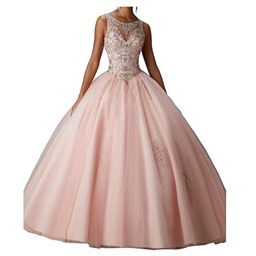 4500b2e2071 Beilite Women s Sweetheart Prom Long Dresses Quinceanera Gown with Crystal  Sequins