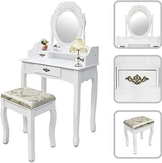 Todeco - Tocador, Mesa de Maquillaje - Material: MDF - Tamaño del espejo: 39,9 x 55,1 cm - 3 cajones, espejo oval con el moldeado, Blanco