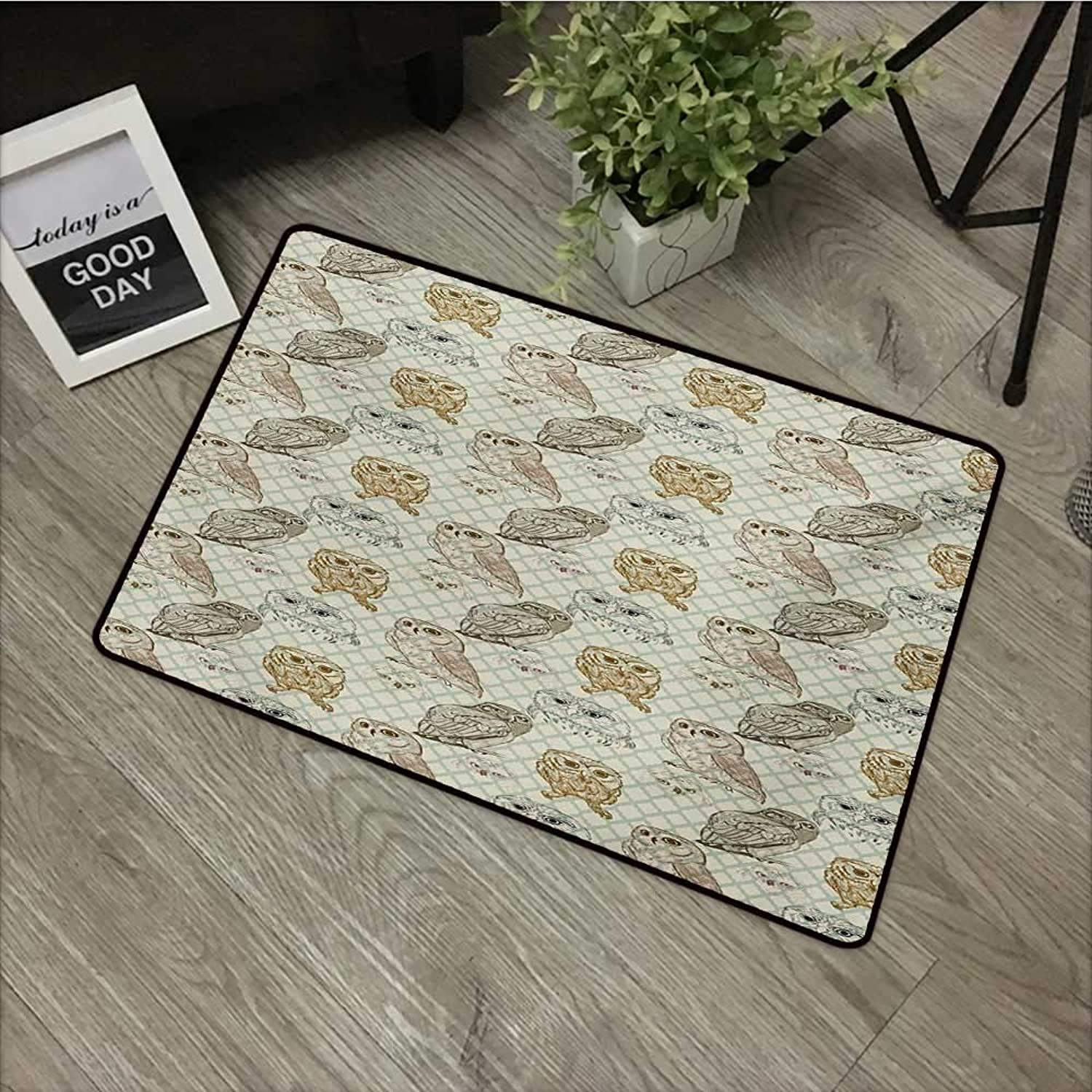 Corridor Door mat W35 x L59 INCH Owl,Cool Looking Owls Different Shapes and Sizes Drawing Style Sketch Pattern Print,Brown Reseda Green Non-Slip Door Mat Carpet