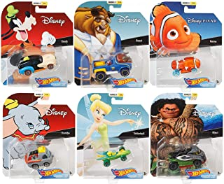 2019 Hot Wheels Set of 6 Disney/Pixar Character Cars 1/64 Collectible Die Cast Toy Cars, with Maui, Goofy, Beast, Dumbo, Tinkerbell, Nemo