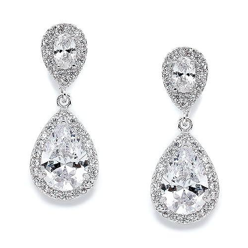 032927c08 Mariell CZ Teardrop Clip On Wedding Earrings, Dainty Pear-Shaped Cubic  Zirconia Dangle Clip