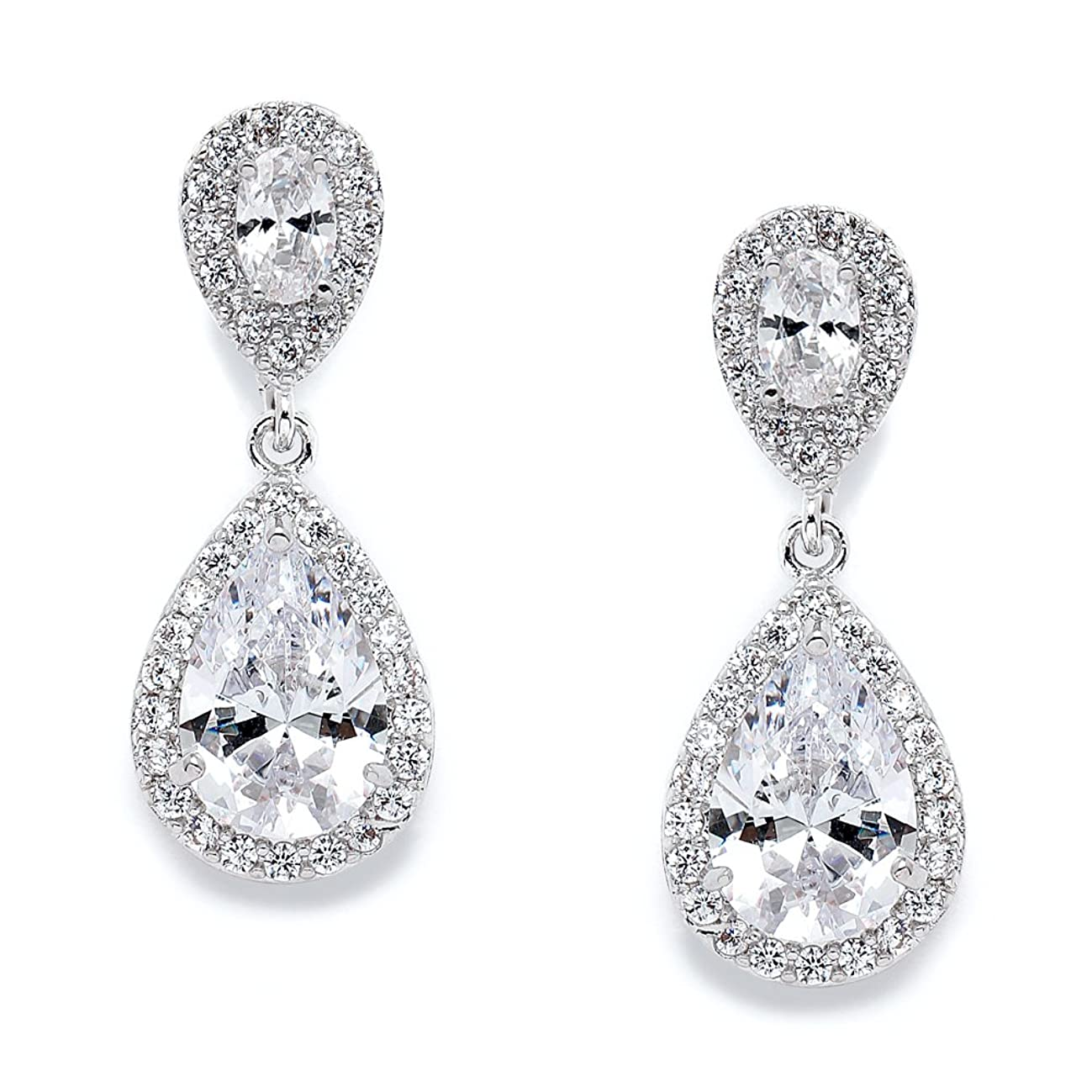 Mariell CZ Teardrop Clip On Wedding Earrings, Dainty Pear-Shaped Cubic Zirconia Dangle Clip-On for Brides