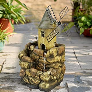 """BBabe Windmill House with Stony Wall Tabletop Water Fountain 17 3/5"""", European Style Indoor Fountain Waterfall Relaxation Decor with LED Lights"""