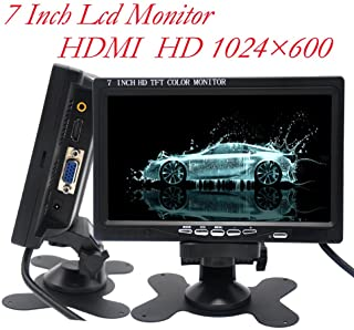 Padarsey 7 Inch Monitor HDMI - 1024x600 HD TFT LCD Screen Display AV VGA Input Built in Speaker for Raspberry Pi 3 Model B...