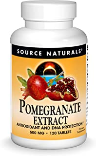 Source Naturals Pomegranate Extract 500 mg Complete Whole Fruit Ellagic Acid Antioxidant & Added Fiber - 120 Tablets