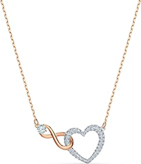 SWAROVSKI Women's Infinity Heart  Mixed Metal Finish Necklace, White Crystal