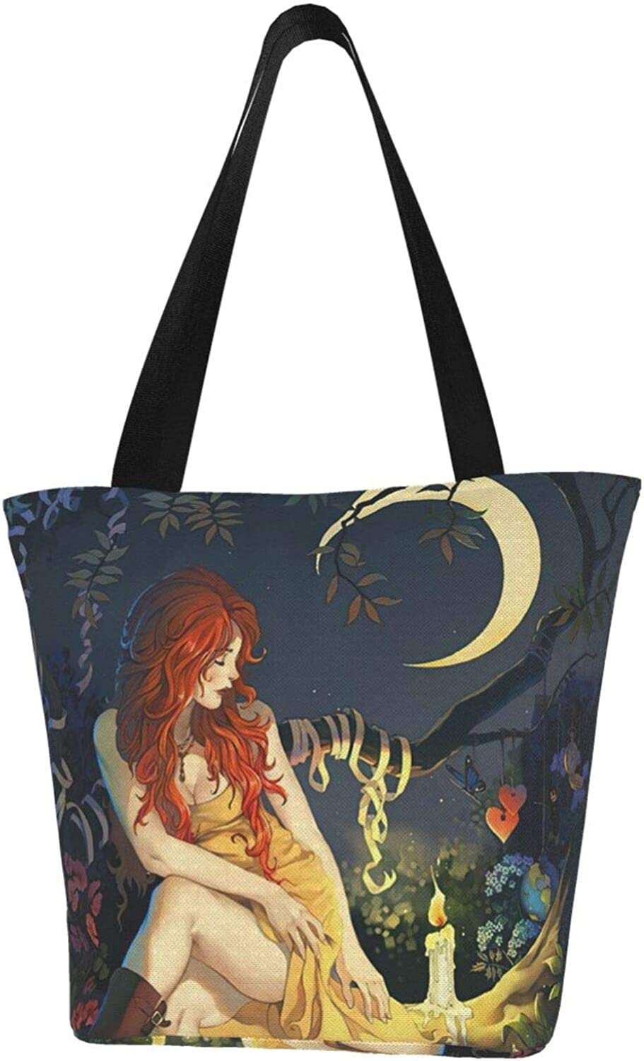 Wicca Wiccan Star Pentagram Candle Witch Themed Printed Women Canvas Handbag Zipper Shoulder Bag Work Booksbag Tote Purse Leisure Hobo Bag For Shopping