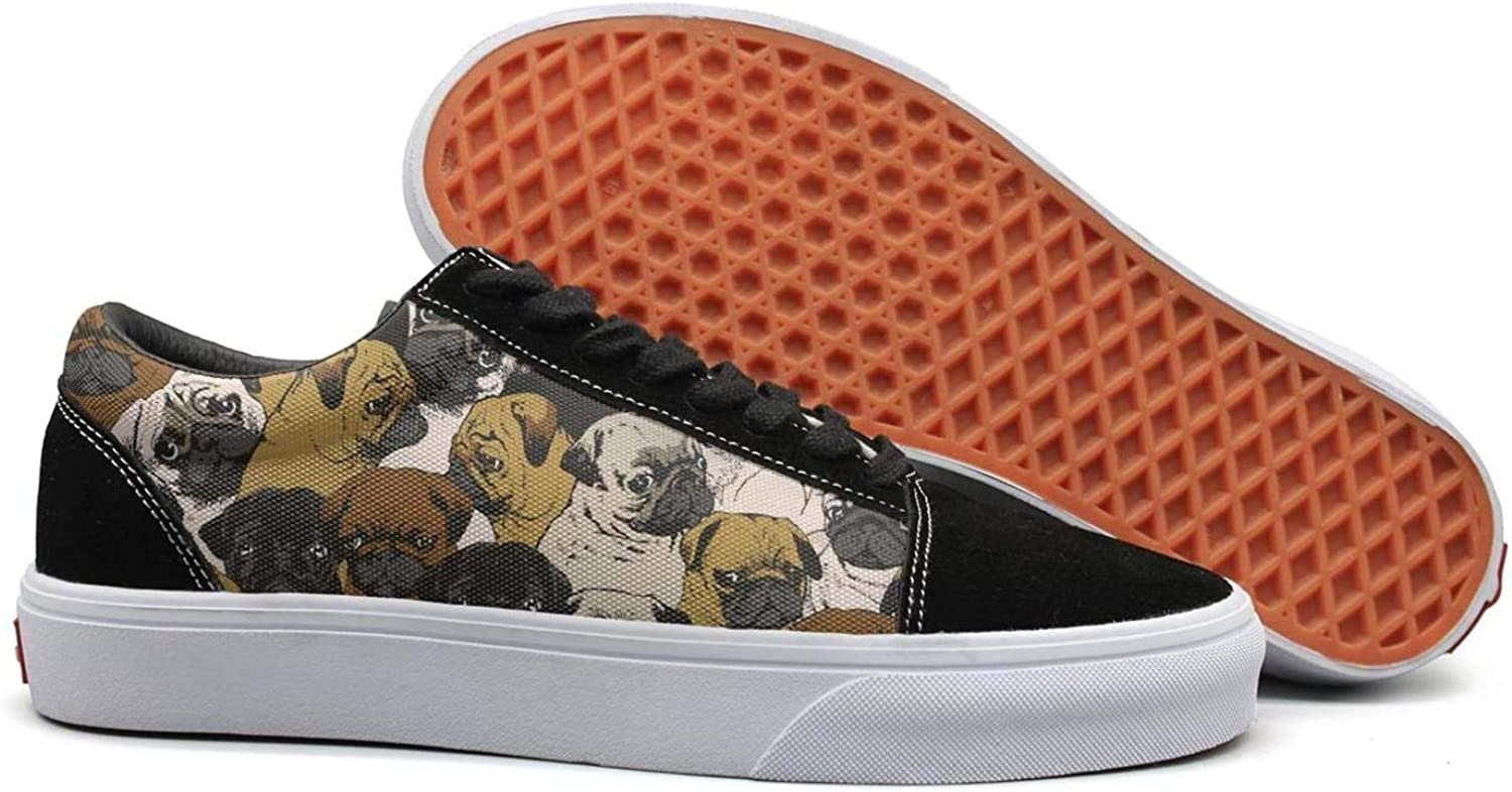 Winging Women Social Pugs Funny Suede Casual shoes Old Skool Sneakers