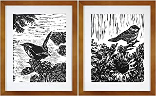 7eGrace Bird Art Prints Vintage Dictionary Paintings Black and White Animals Woodcut Wall Art Handmade Poster for Home Decor 8''X10'' Unframed Set of 2 (No.1)