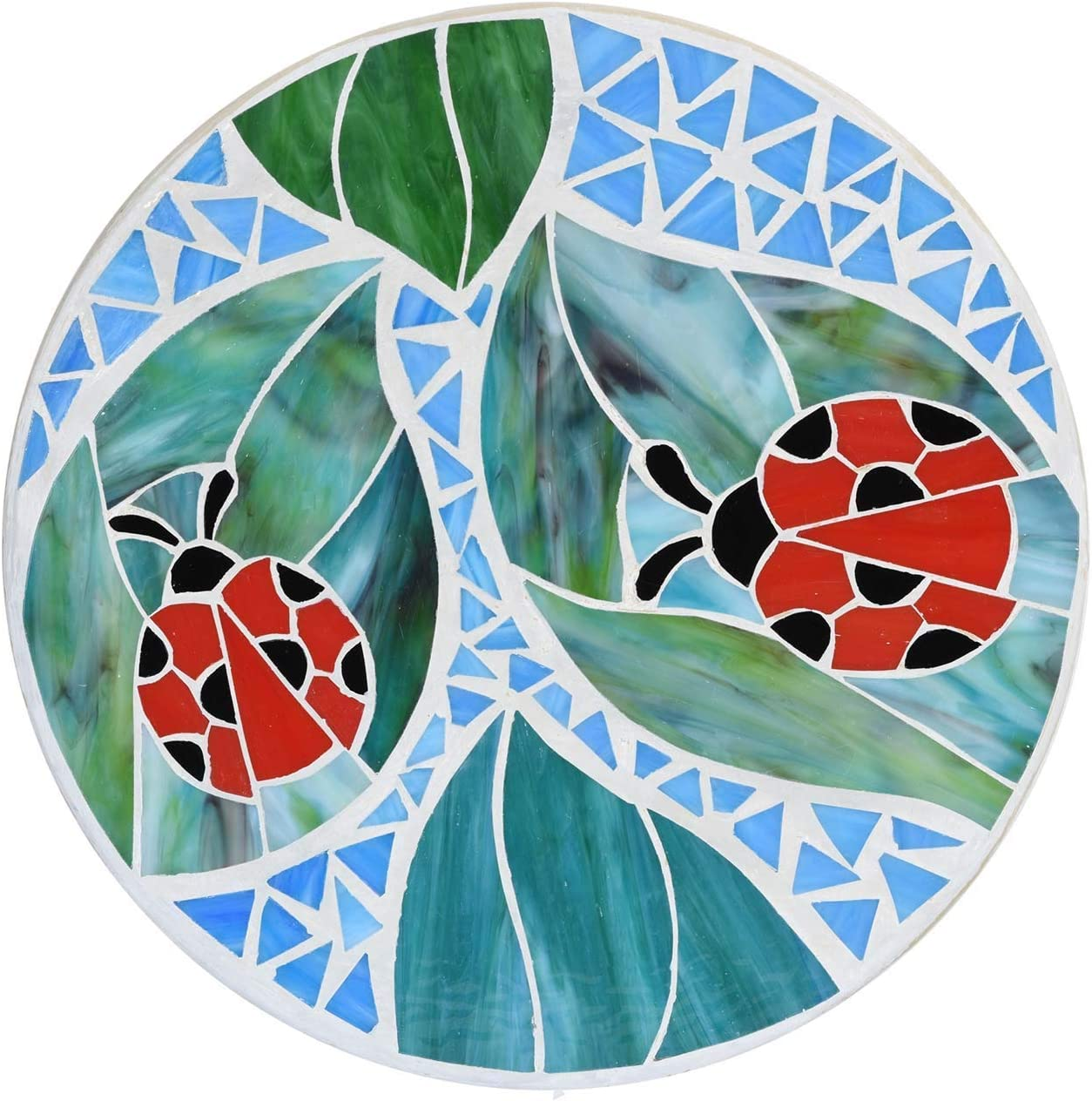 Bieye MSS20 Red Ladybugs on Green Leaves Stained Glass Mosaic Stepping  Stone for Decorating Garden Lawn, 20 inches Wide Round Shape