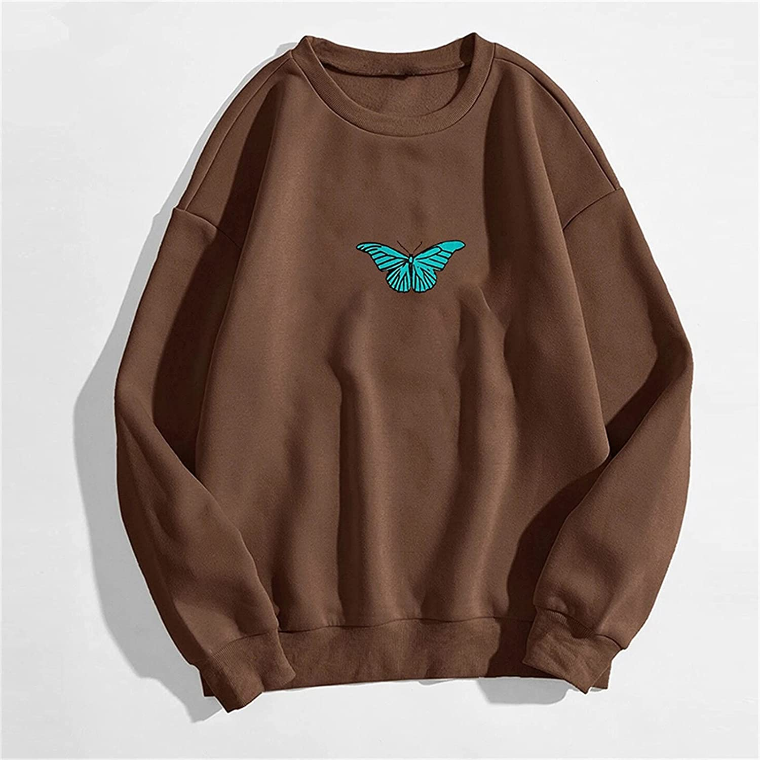 Crewneck Fall Sweatshirts Women Vintage Loose Fit Butterfly Graphic Long Sleeve Batwing Pullover Juniors Blouse Tops