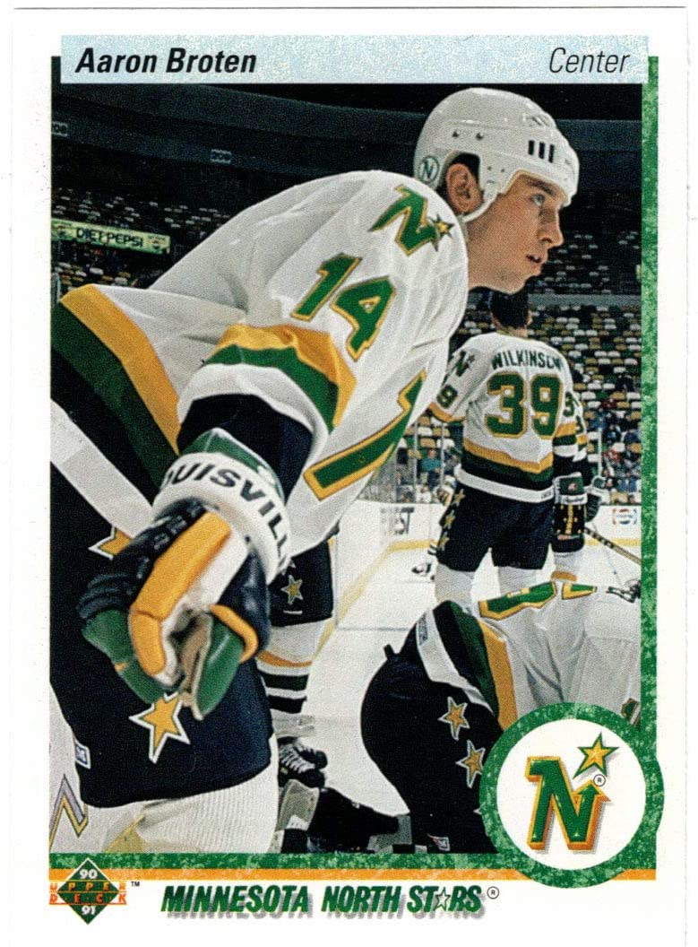 Aaron Broten Popularity Hockey Card 1990-91 Upper Purchase MT 210 # NM Deck