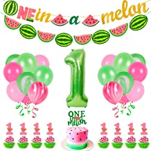 35 PCS Watermelon Party Decorations - Baby Boy Girl 1st Birthday One In A Melon Party Supplies For Kids Include Watermelon...