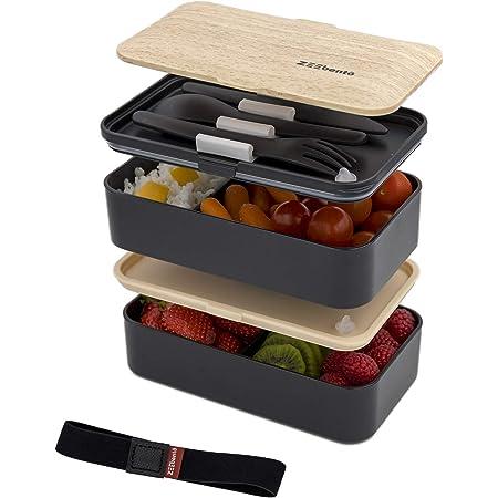 ZEEbento ® Bento Lunch Box Bambou Design | Bento Japonais | Hermétiques | Résiste au Micro-Ondes et Lave-Vaisselle | sans PBA | Boîte Repas pour la famille | Marque Déposée | Bento Qualité