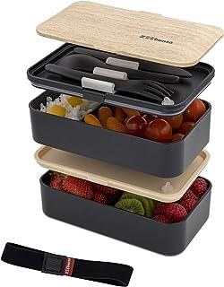 ZEEbento ® Bento Lunch Box Bambou Design | Bento Japonais | Hermétiques | Résiste au Micro-Ondes et Lave-Vaisselle | sans ...