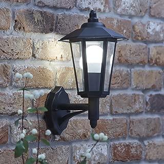 Casquillo 1x GU10 para LED y hal/ógeno Color negro Set 6 unidades Pantalla difusora de cristal Aplique de pared exterior de aluminio