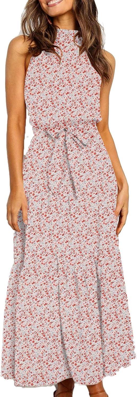 TEMOFON Women's Dresses Limited time for free shipping Halter Neck Boho Maxi Summer Prin Floral [Alternative dealer]