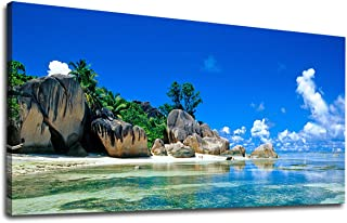 yearainn Canvas Wall Art Summer Beach of Seychelles Islands Panoramic Painting - Long Nature Canvas Artwork Blue Sea Contemporary Picture for Home Office Wall Decor 20
