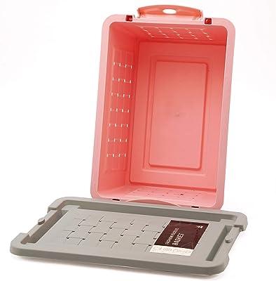 ZARPA (LABEL) 2 Pieces Plastic Air Tight Waving Rattan Storage Shelf Basket With lock Lid
