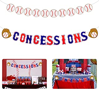 Apipi 2 Pcs Baseball Themed Concessions Banner Concession Stand Sign Baseball Party Supplies Sports Themed Baby Shower Birthday Party Candy Table Decorations