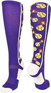 MadSportsStuff Softball Bomber Over The Calf Socks (Purple/White,  Large)