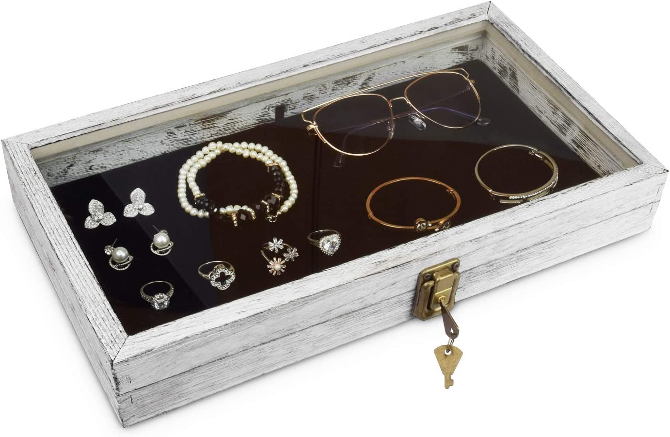 MOOCA 2021 model Wood Excellent Glass Top Jewelry f Display Tray Wooden Case