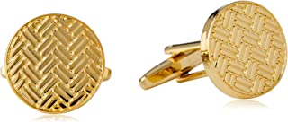BUCKLE 1922 Men's Shiny Gold Round Cufflinks, Brushed Gold, One Size