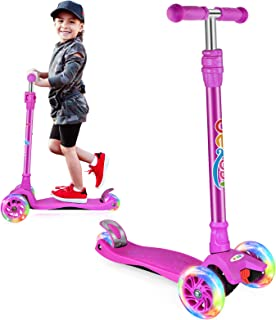 US 3 Wheel Kick Scooter Kid Toddlers Walker Bike Flash Folding Removable Seat ┞
