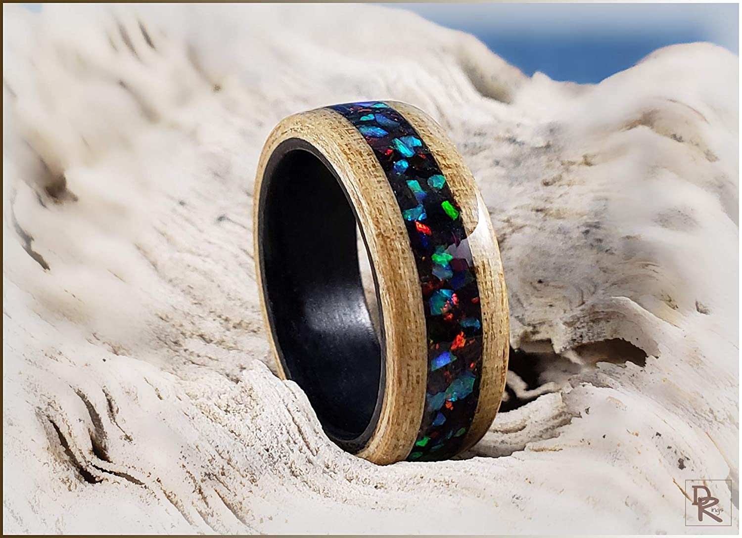 Dual Bentwood Ring - Japanese Ash lowest price Be on wHouse security inlay Blend Opal
