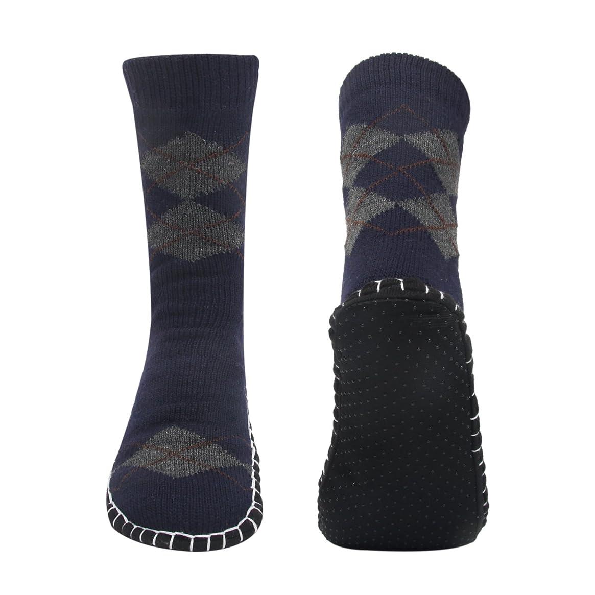 起訴するスロープセンブランスルームソックス メンズ靴下 室内履き ルームシューズ 滑り止め加工 自宅仕事用 ニット 暖かい もこもこ 寒気防止 両足温める 柔軟 編み物 24-28cm