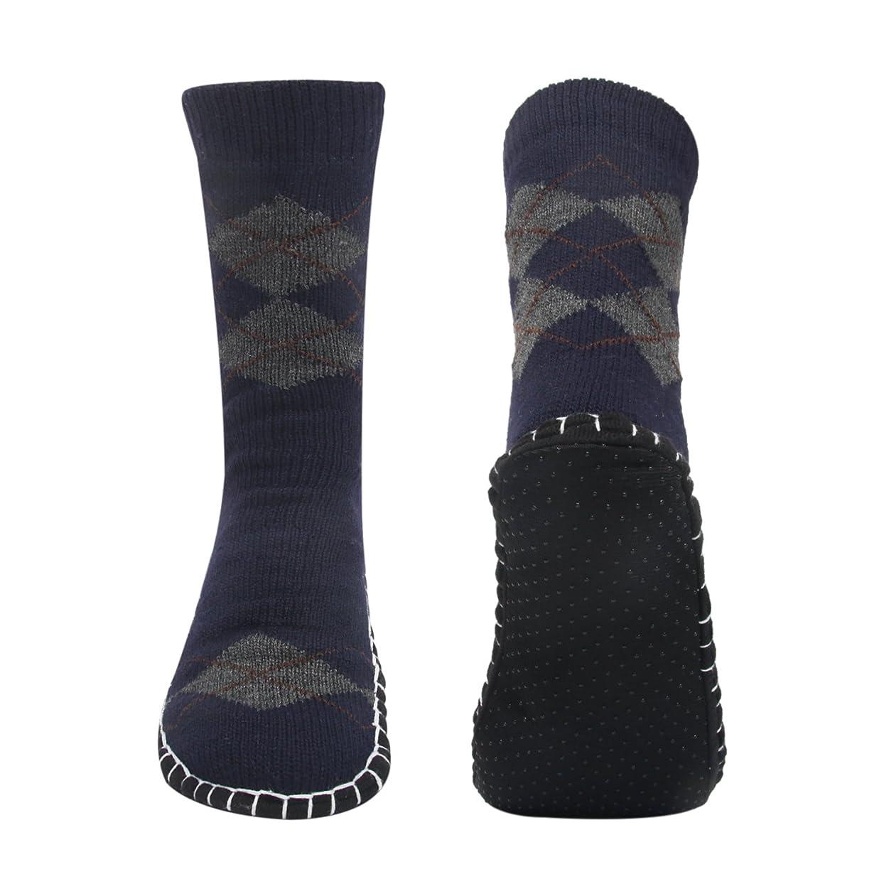 ポンプシンボル過激派ルームソックス メンズ靴下 室内履き ルームシューズ 滑り止め加工 自宅仕事用 ニット 暖かい もこもこ 寒気防止 両足温める 柔軟 編み物 24-28cm