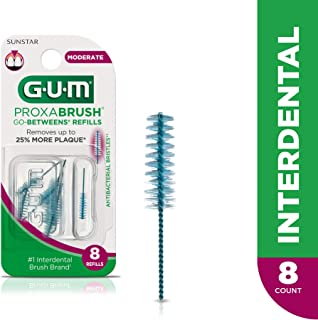 GUM Proxabrush Go-Betweens Interdental Brush Refills, Moderate, 8 Count