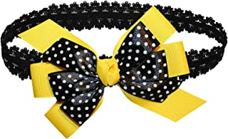 WD2U Baby Girls Black Dotted GrosGrain Boutique Hair Bow Stretch Headband USA (Sun Yellow)